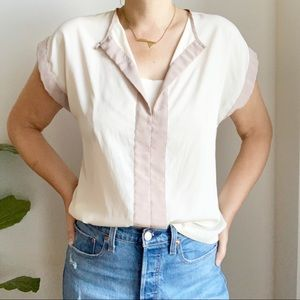 Vintage Shapely Cream Tan Polyester Blouse Size M